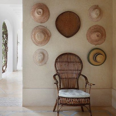 Hanging Hats - An elegant house combining English country house style with traditional Moroccan elements - real homes on HOUSE by House & Garden.