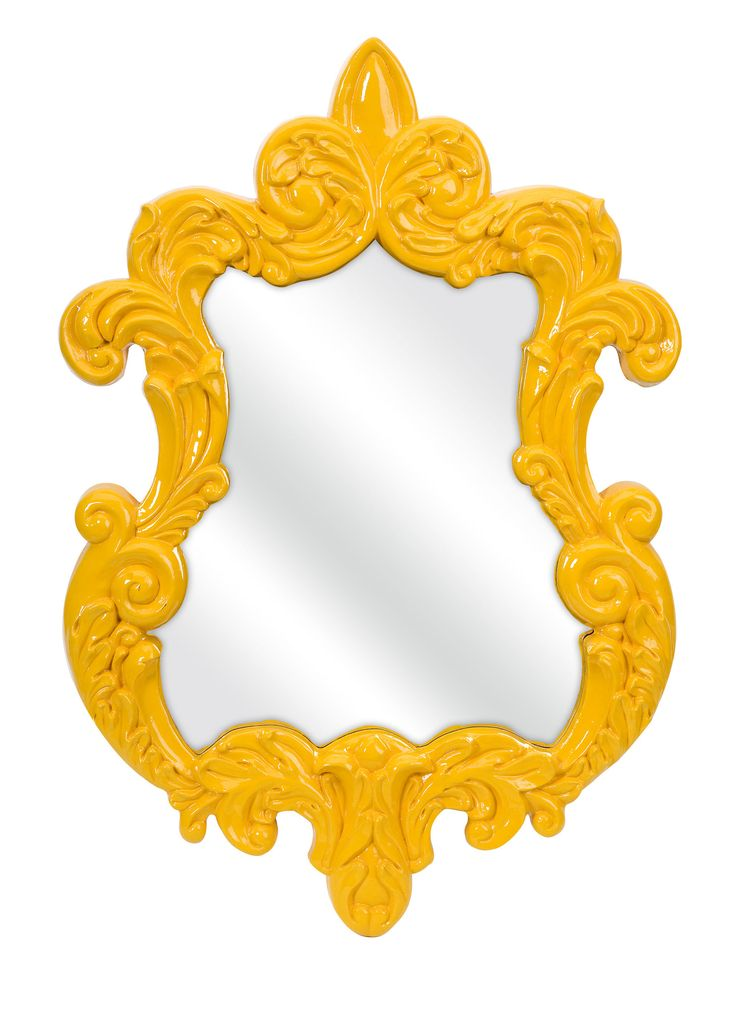 In A Canary Yellow Baroque Style Frame The Finely Wall Mirror Adds Vintage