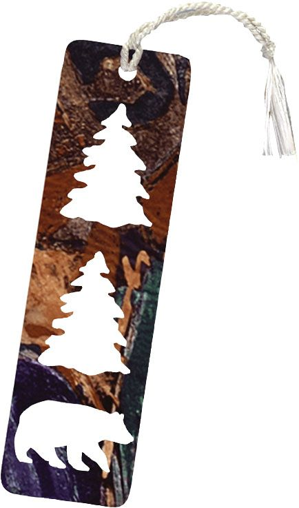 Bear And Pine Trees Bookmark Http://www.rusticeditions.com