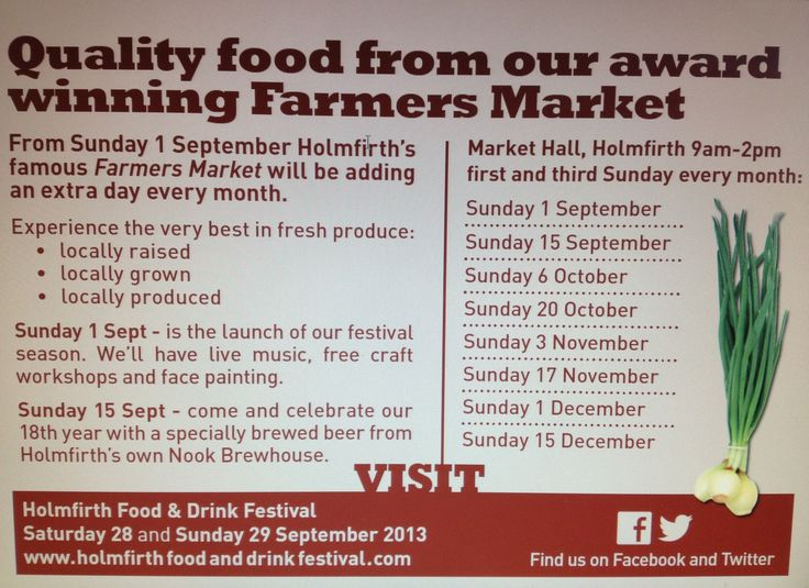 Dates for our new Holmfirth Farmers Market