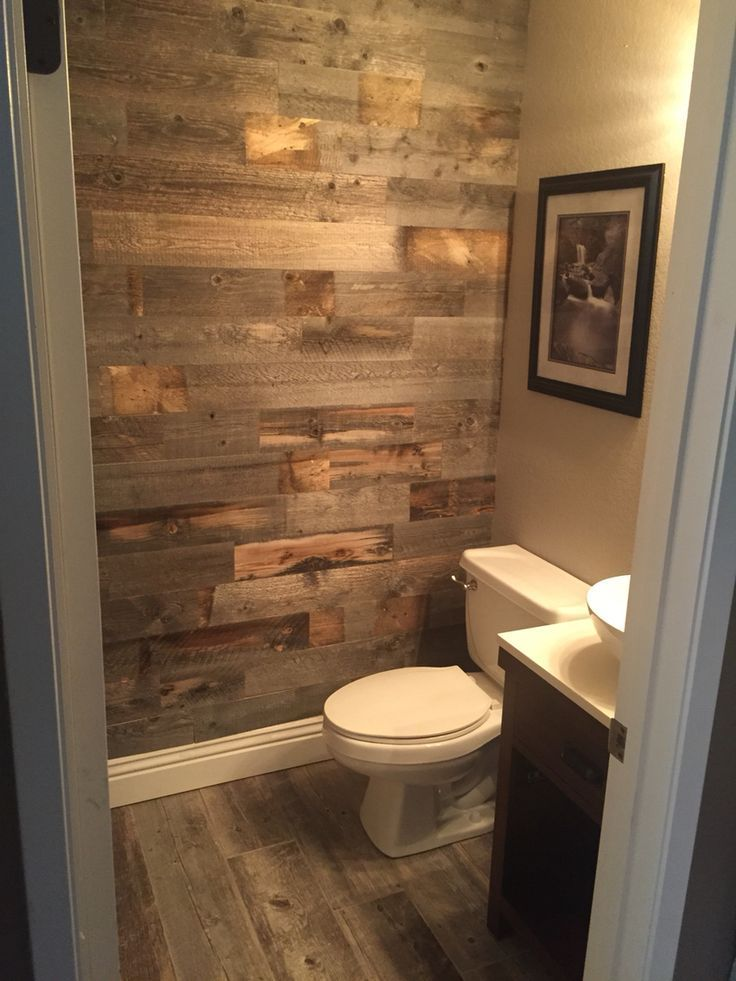 Bathroom remodel with Stikwood. … Bathroom remodel