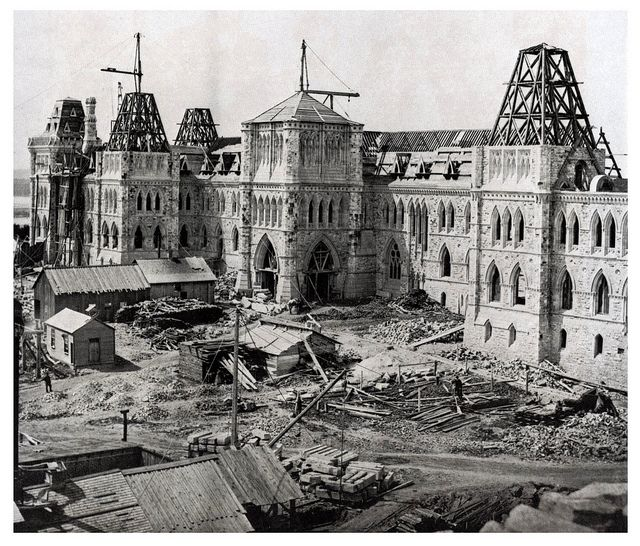 The construction of Parliament Hill, Ottawa, 1863. #vintage #Victorian #Canada