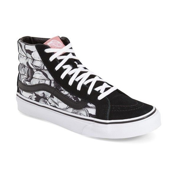 Vans 'Sk8-Hi Slim - Digi Roses' Sneaker (3,060 PHP) ❤ liked on Polyvore featuring shoes, sneakers, vans trainers, vans high tops, vans shoes, high top trainers and lace up shoes