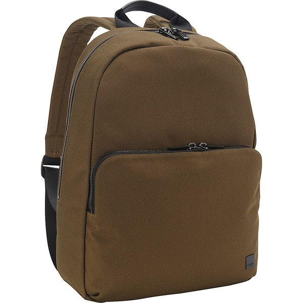 KNOMO Hanson Backpack - Deep Army Green - Laptop Backpacks ($169) ❤ liked on Polyvore featuring bags, backpacks, green, laptop backpacks, brown backpack, woven backpack, laptop travel backpack, travel rucksack and knomo backpack