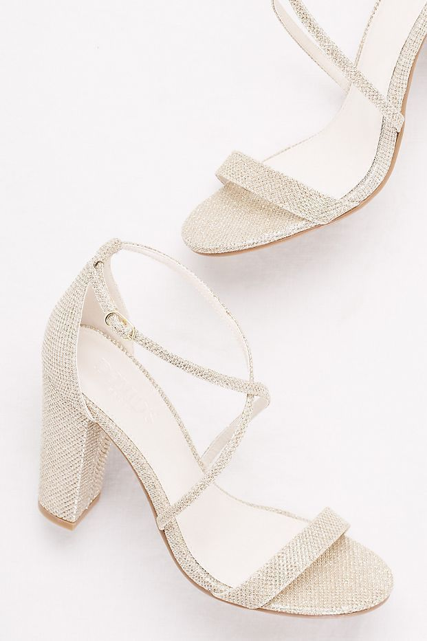 Crisscross Strap Block Heel Sandals David S Bridal Weddingshoes Wedding Shoes Heels Wedding Shoes Lace Bridal Shoes
