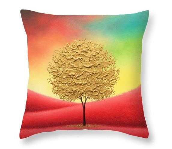 gold tree pillow elegant throw pillow living room decor autumn landscape decorative pillow couch pillow regal bed pillow