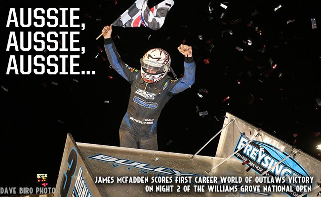 Australian James McFadden Scores First Career World of Outlaws Victory at Williams Grove MECHANICSBURG, PA – September 29, 2017 – Australian James McFadden scored his first career World of Outlaws Craftsman Sprint Car Series win in ...