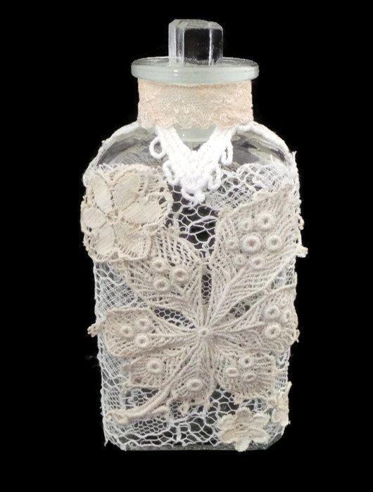 Lace Decorated Bottle Altered Bottle Vintage Bottle by SCWVintage