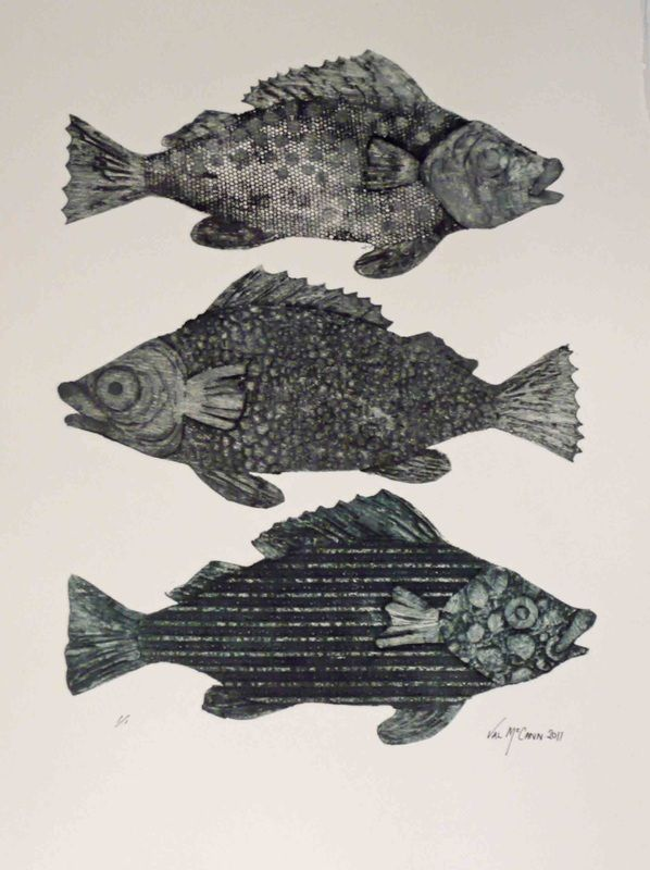 Fishes - collagraph print - Val McCann