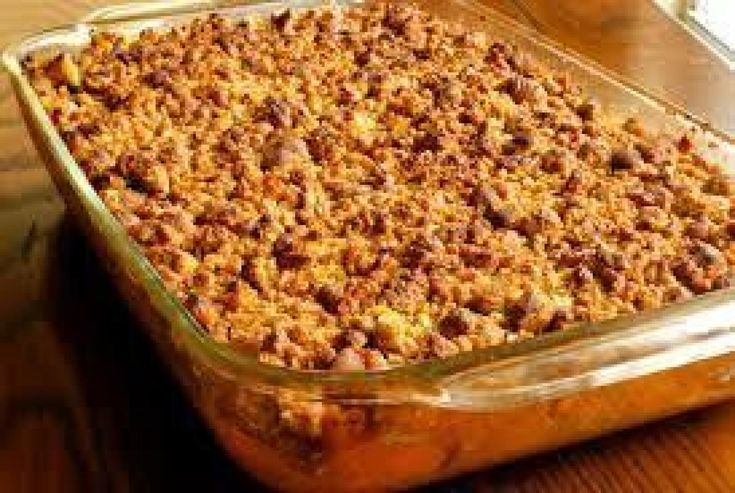 I have not tried this dish yet. I will be preparing this dish when I cook pork chops, my husband thinks he cannot have pork without sweet potatoes. My daughter said one of her co-workers brought this dish and everyone thought it was very good.