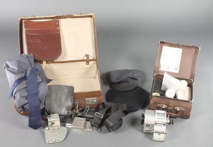 Lot 262, A London Transport Bus ticket machine, a London Transport leather satchel, 2 caps etc, sold for £320