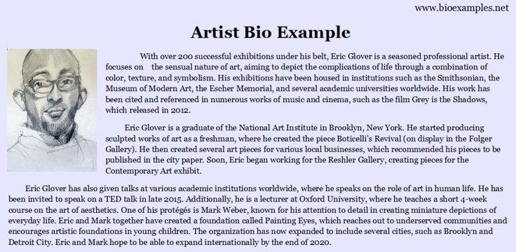 Artist profile sample.