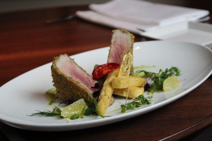 Mediterranean red tuna medallion breaded Palermitana style, almond pesto and chick pea fritters