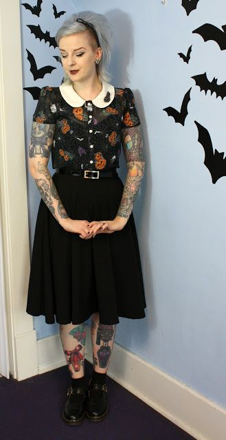 Coffin Kitsch: Harlow Halloween Blouse by Hell Bunny #peterpancollar #blogger…