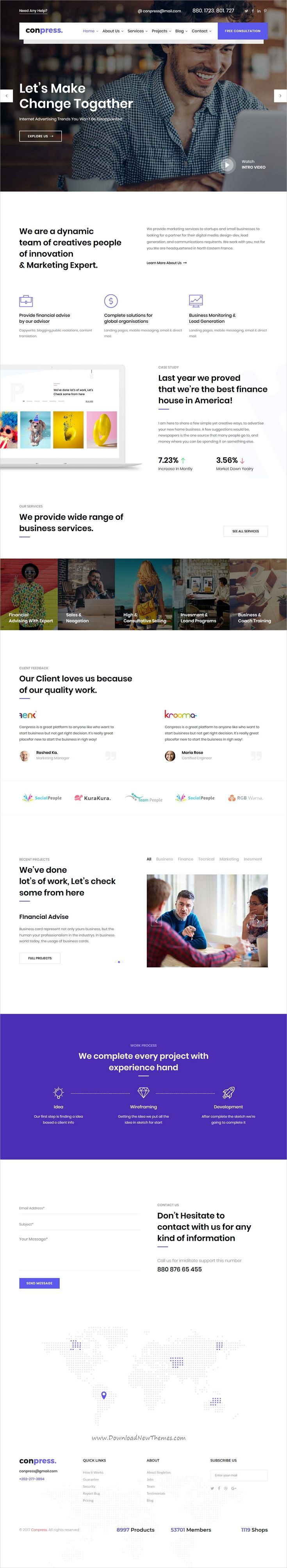 Conpress is clean and modern design 5+ multipurpose responsive #HTML template for #startup #business website  click on the image to download.
