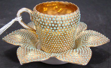 JEWELED MINIATURE CUP AND SAUCER