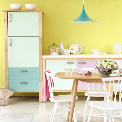 Le pastel, la couleur à suivre dans votre maison: Decor Ideas, Yellow Wall, Pastel Colour, Pastel Kitchens, Interiors Design, Pastel Colors, Design Kitchens, Kitchen, Modern Kitchens Design