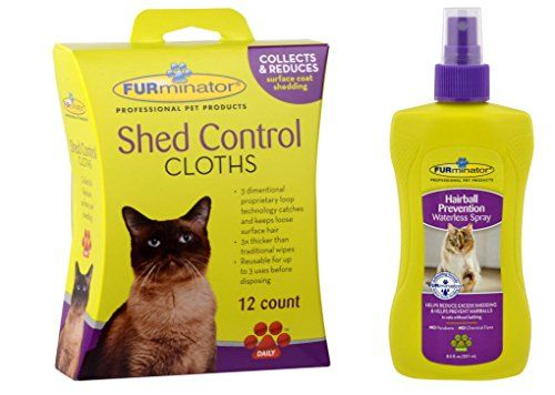 Furminator Cat Shed Control Cloths are the first convenient solution to removing loose surface hair and cleaning your cat's coat. These easy-to-use wipes are three times thicker than traditional wipes...