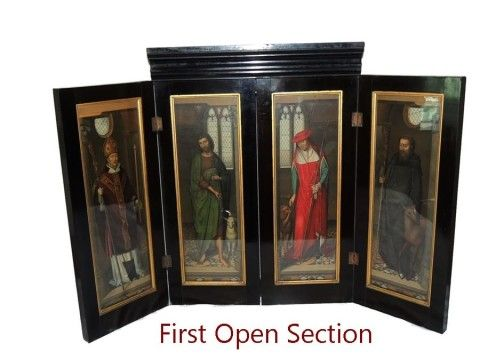 Antique Hans Memling Polyptych Victorian PASSION Altarpiece Shrine Chromolithographs Nearly 3 ft Tall