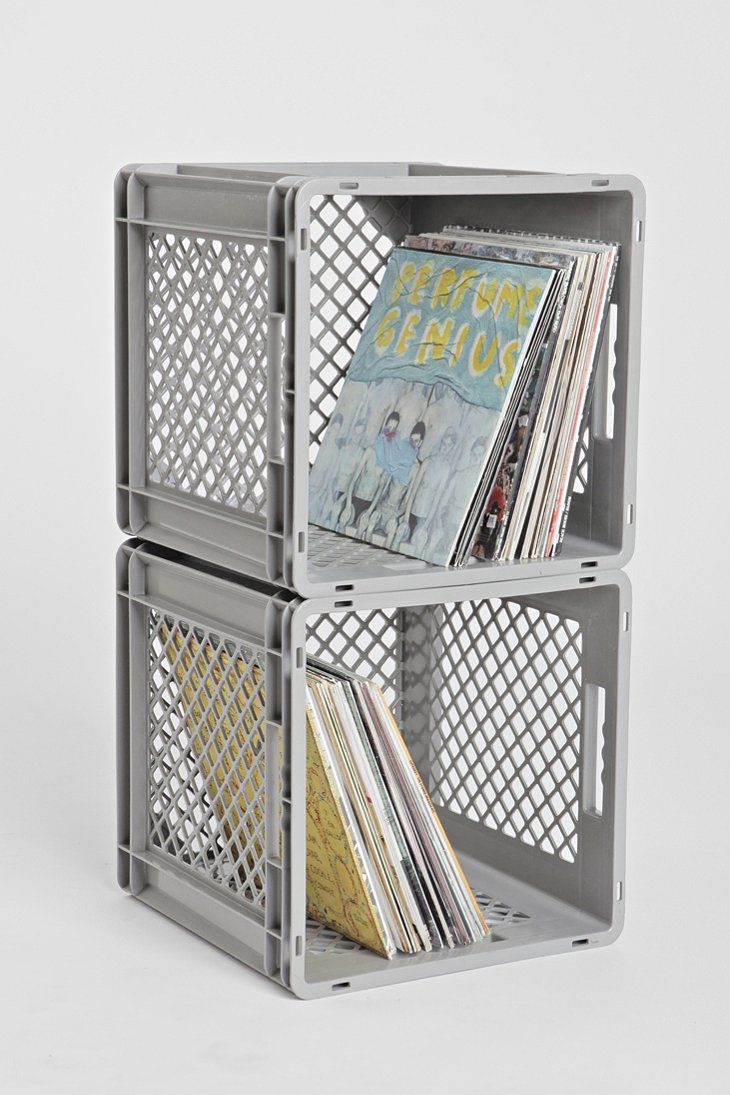 Milk Crate Storage Bin, Used With 2ft Plywood To Create Long Shelf. Hold  Books