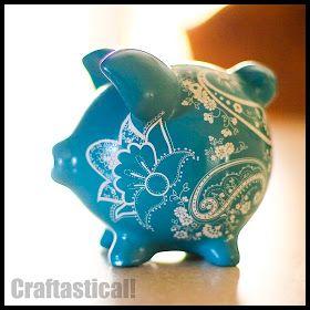 Craftastical!: Tutorial: Pretty Piggy Bank Makeover