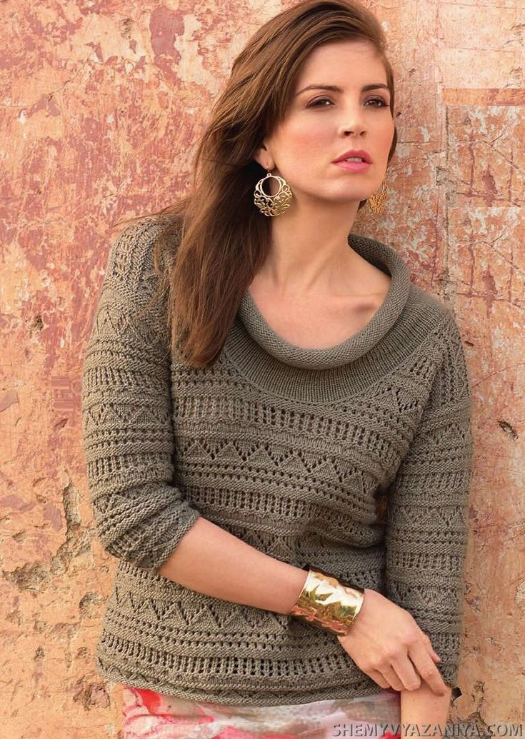 Пуловер сочетанием узором с широким воротником