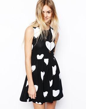 ASOS Skater Dress In Mono Heart Print