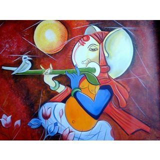 Online Lord Ganesha Canvas Oil Painting Prices - Shopclues India
