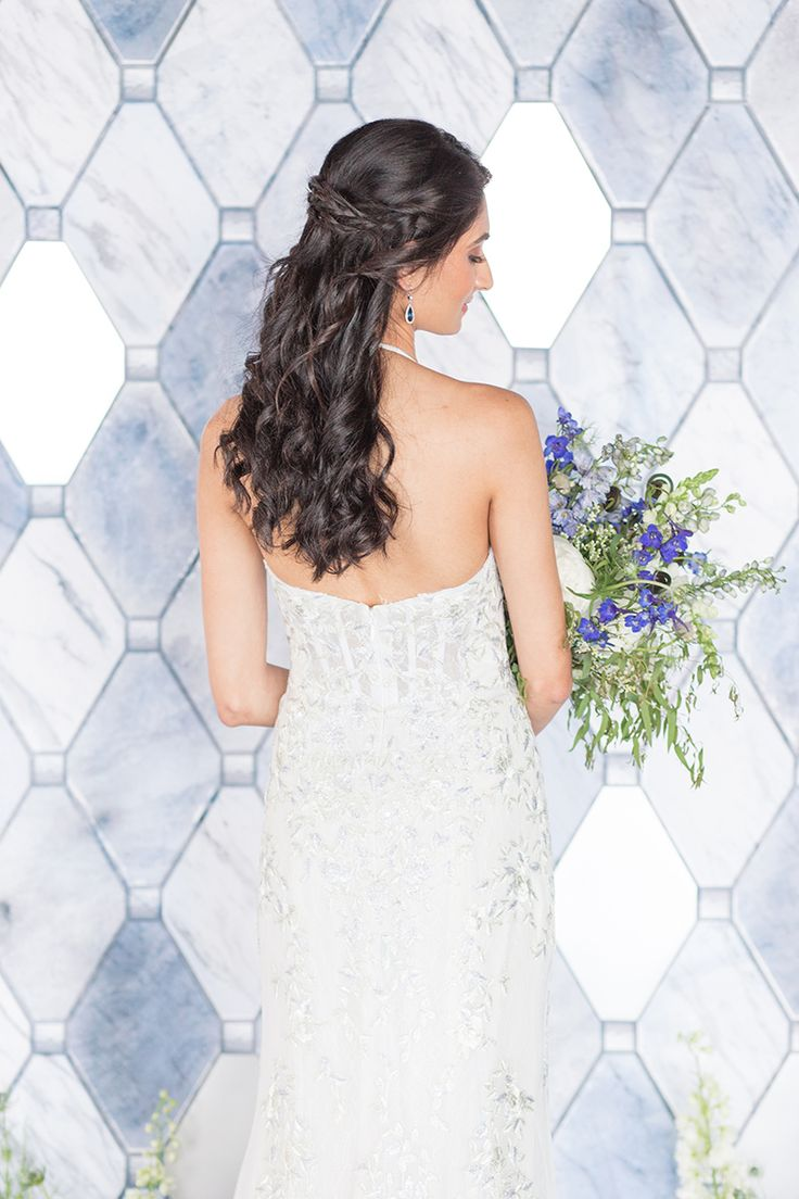 Bridal half-updo hairstyle with Melissa Sweet for David's Bridal gown.