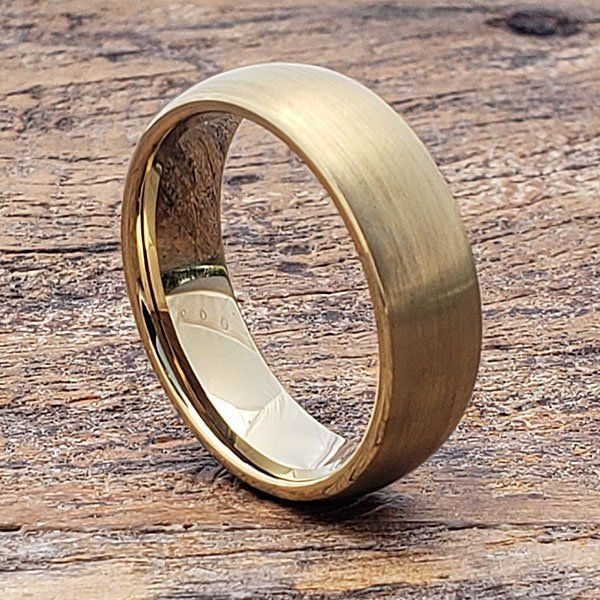 Mens Gold Ring Matte Gold Ring Mens Wedding Band Antique Gold Ring Mens Tungsten Ring Antique Finish Ring Mens Gold Rings Gold Tungsten Ring Unique Gold Rings