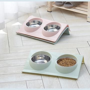Twin Use Pet Bowl Meals Class Plastic Stainless Stainless Pet Kitten Double Bowl Pot Sputtering Cat Feed