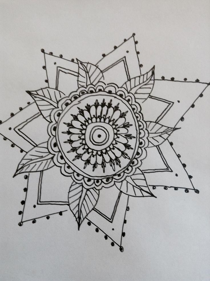 mandalas design:   white card | black pen