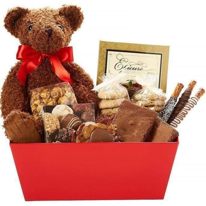 Teddy Bear Gourmet Gift Basket  #gifts #freeshipping #finegifts