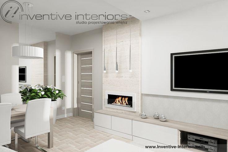 Projekt salonu Inventive Interiors - beżowy kamień w jasnym salonie