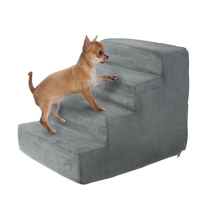 Trademark Global PETMAKER High Density Foam Pet Stairs   4 Steps   Gray/Grey