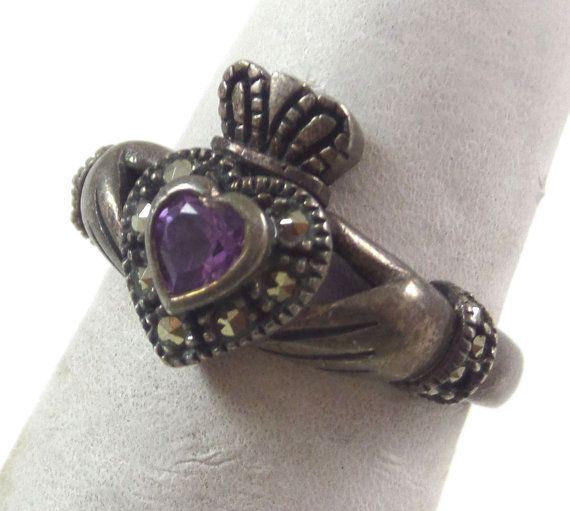 Vintage Claddagh Ring Hands Holding Heart And Crown