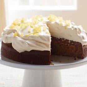 Lemon-Ginger Molasses Cake with Whipped Cream