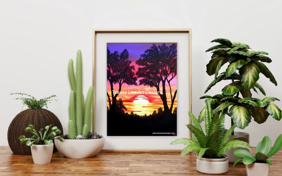 https://www.etsy.com/au/listing/285355611/art-print-of-the-original-pink-sunset-by #art #sunset #painting #sunsetpainting #print
