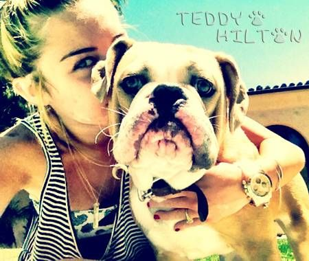 Miley Cyrus and her pup!