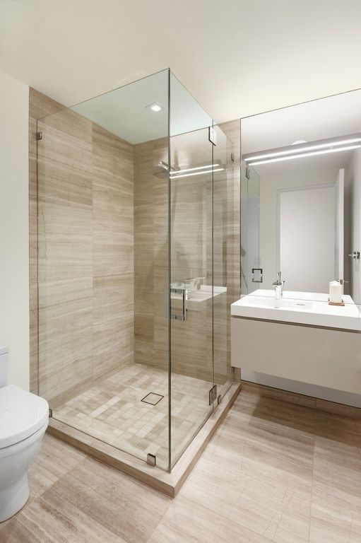 Contemporary 3/4 Bathroom with European Cabinets, …