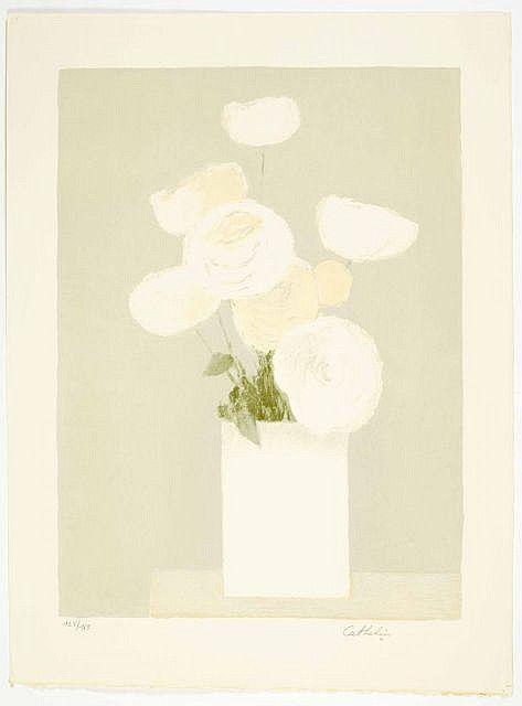 """""""Roses blanches"""" et """"Bouquet jaune"""" Bernard CATHELIN 1919-2004 Ensemble de 2 lithographies 65 x 49 cm, 76 x 54 cm"""