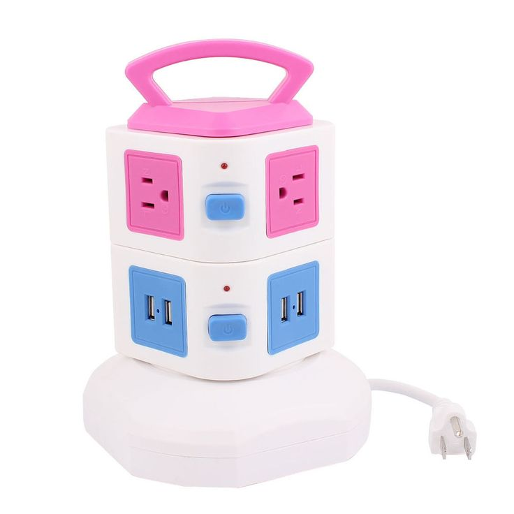US Plug Surge Protection Power Strip Smart Socket 6-Outlet 4-USB Charger Pink #uxcell #6Outlet4USBPorts