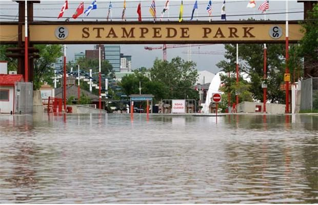 Calgary Floods - Entrance to Stamped park June 21, 2013