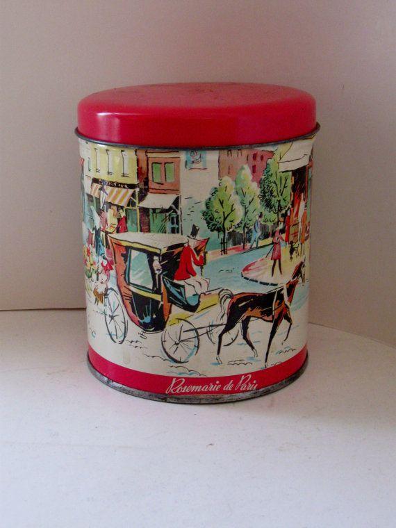Vintage Tin Container  Rosemarie de Paris  by jonscreations