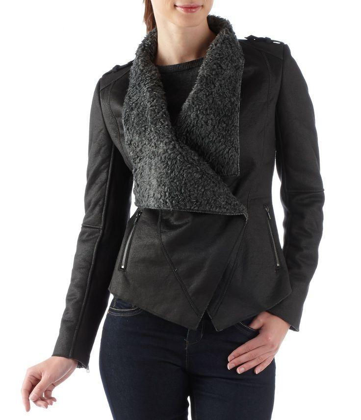Manteau femme imitation peau lainée