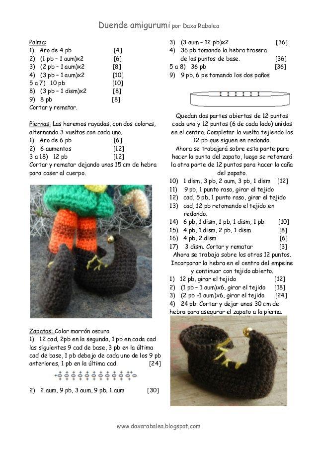 4 - Duende amigurumi por Daxa Rabalea www.daxarabalea.blogspot.com Palma: 1) Aro de 4 pb [4] 2) (1 pb – 1 aum)x2 [6] 3) (...