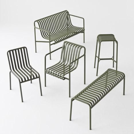 Outdoor furniture range by the Bouroullec brothers: http://www.dezeen.com/2015/09/04/bouroullec-brothers-design-palissade-striped-outdoor-furniture-hay-maison-objet-2015/ … #design