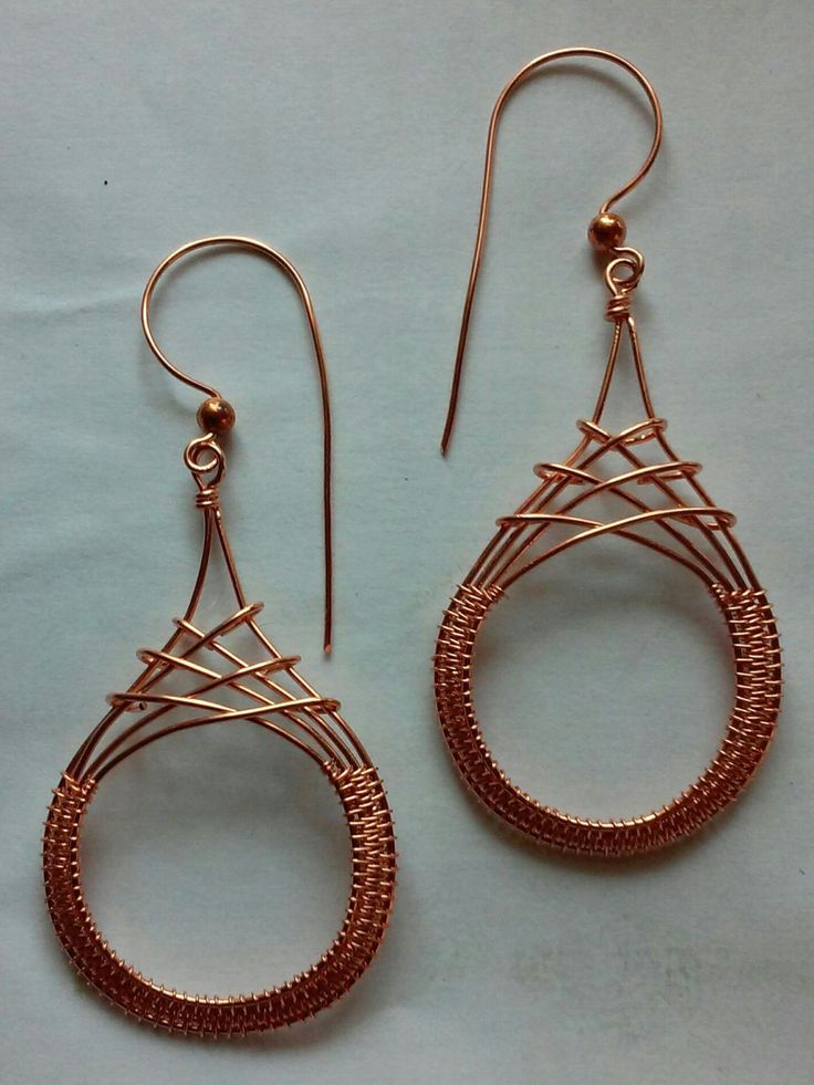 Criss Cross Earrings in Copper, Wire Wrapped Earrings, Wire Wrapped Jewelry, Copper Jewelry, Made to Order, Drop Earrings, Gift for Her by SparrowSongInDesign on Etsy https://www.etsy.com/listing/455800514/criss-cross-earrings-in-copper-wire