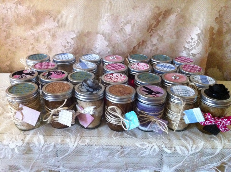 RUSTIC WEDDING SHOWER Favors. 50 Organic Sugar Body Scrubs in 8 oz. Glass Mason Jars tied with twine. Burlap and Lace Bridal
