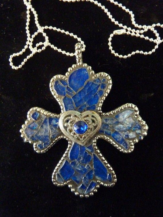 Mosaic Cross Wall Ornament or Pendant by KateSutcliffeMosaics, $40.00